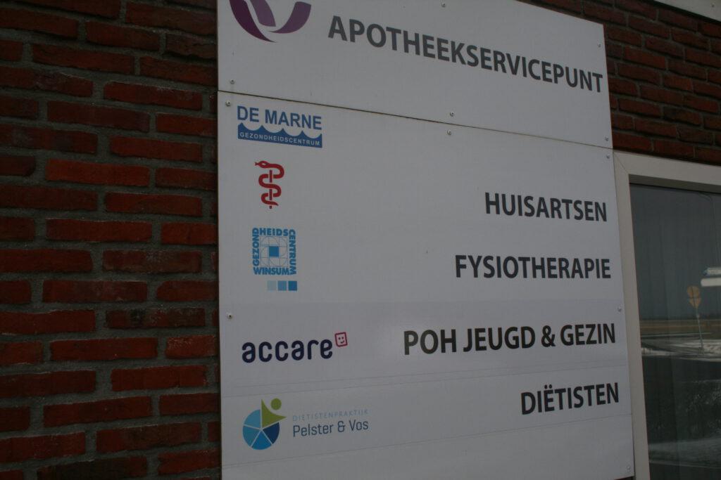 Bord Disciplines Fysiotherapie de Marne vestiging Leens